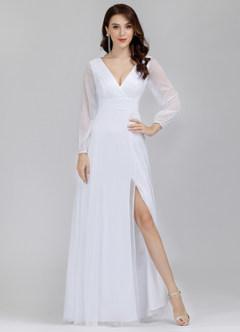 azazie-EVER-PRETTY Plunging Neck Split Hem Glitter  Dress