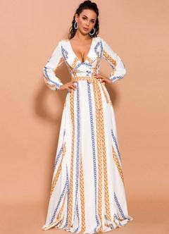 azazie-Missord Chain Print Split Thigh Plunge Neck Ruffle Dress