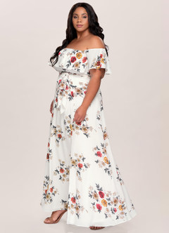 Romantic Reverie Ivory Floral Print Maxi Dress