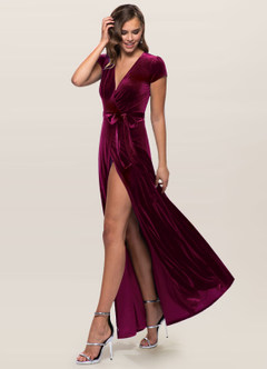 azazie-Blush Mark Dreaming Of You Cabernet Velvet Maxi Dress