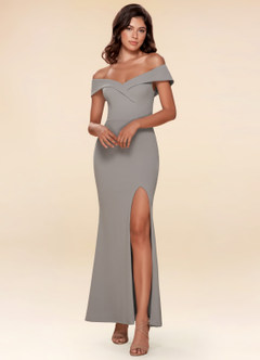 My Valentine Blue Grey Stretch Crepe Maxi Dress