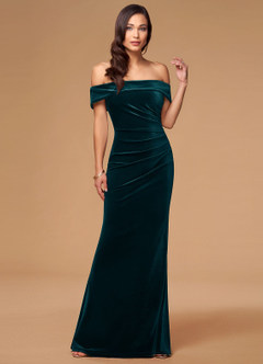 azazie-Blush Mark Sweet Thing Dark Green Velvet Maxi Dress
