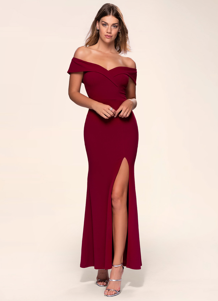 My Valentine Burgundy Stretch Crepe Maxi Dress