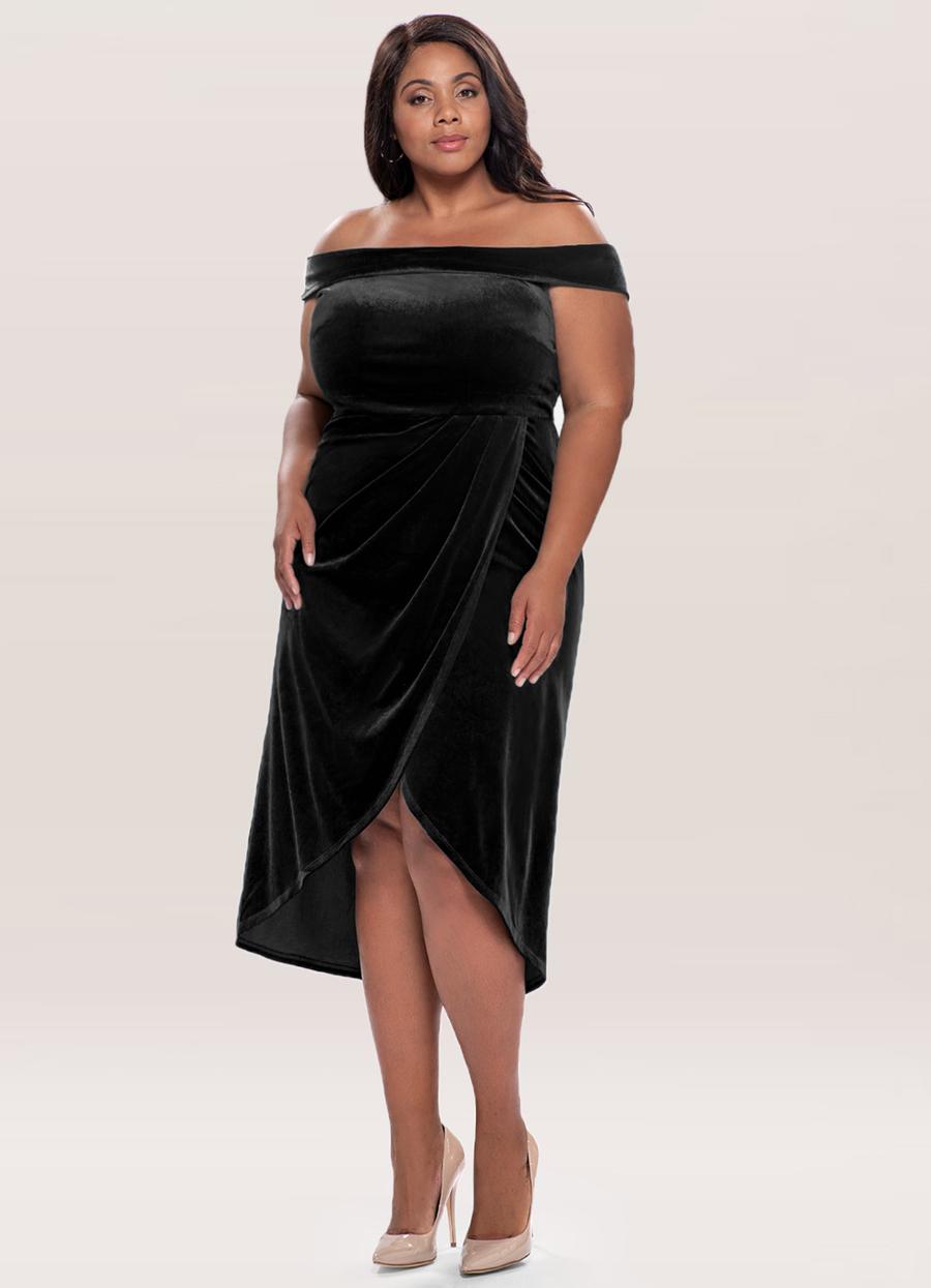 Sweet Desire Black Velvet Midi Dress