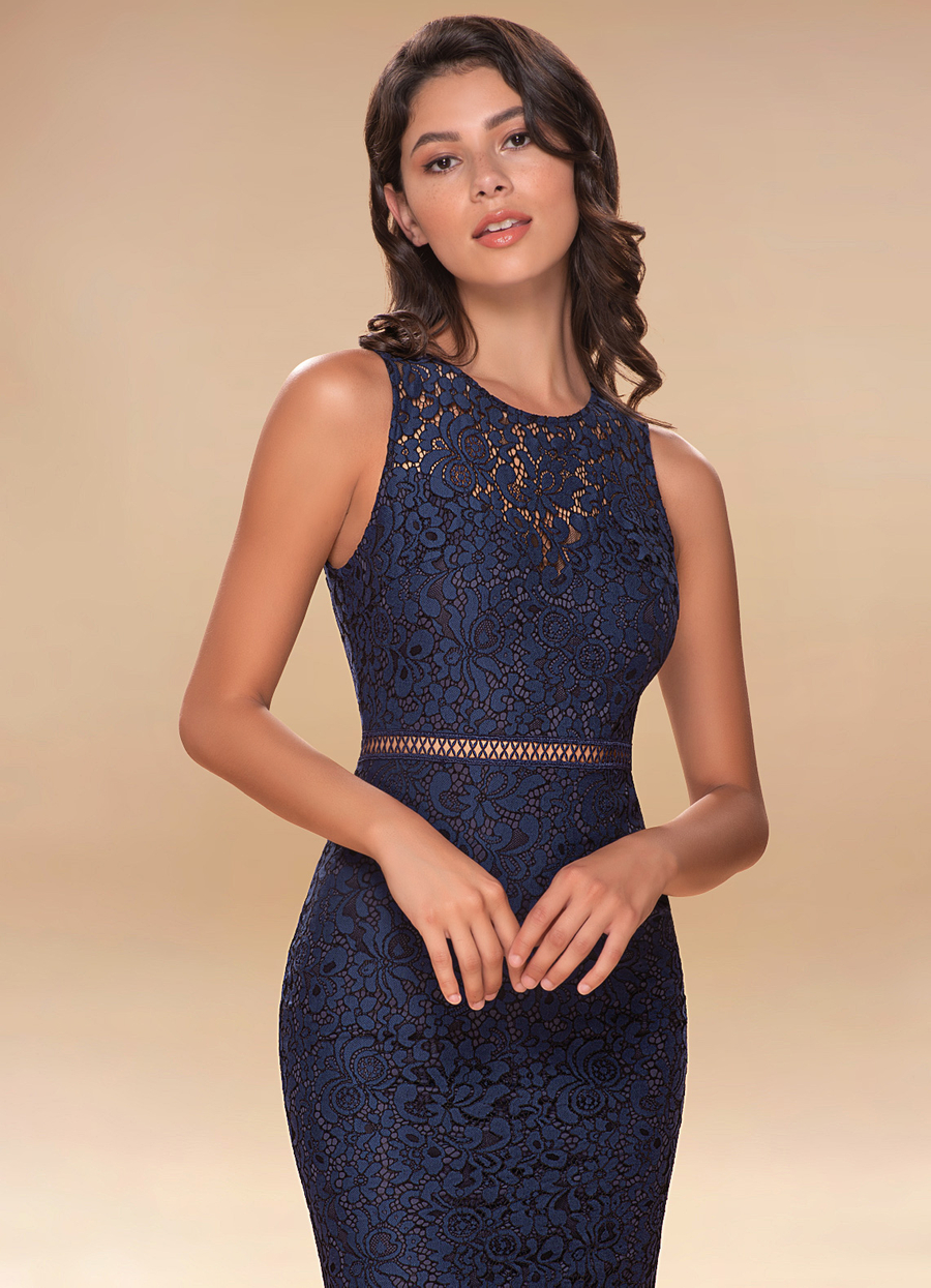 Moonlight Navy Blue Lace Maxi Dress