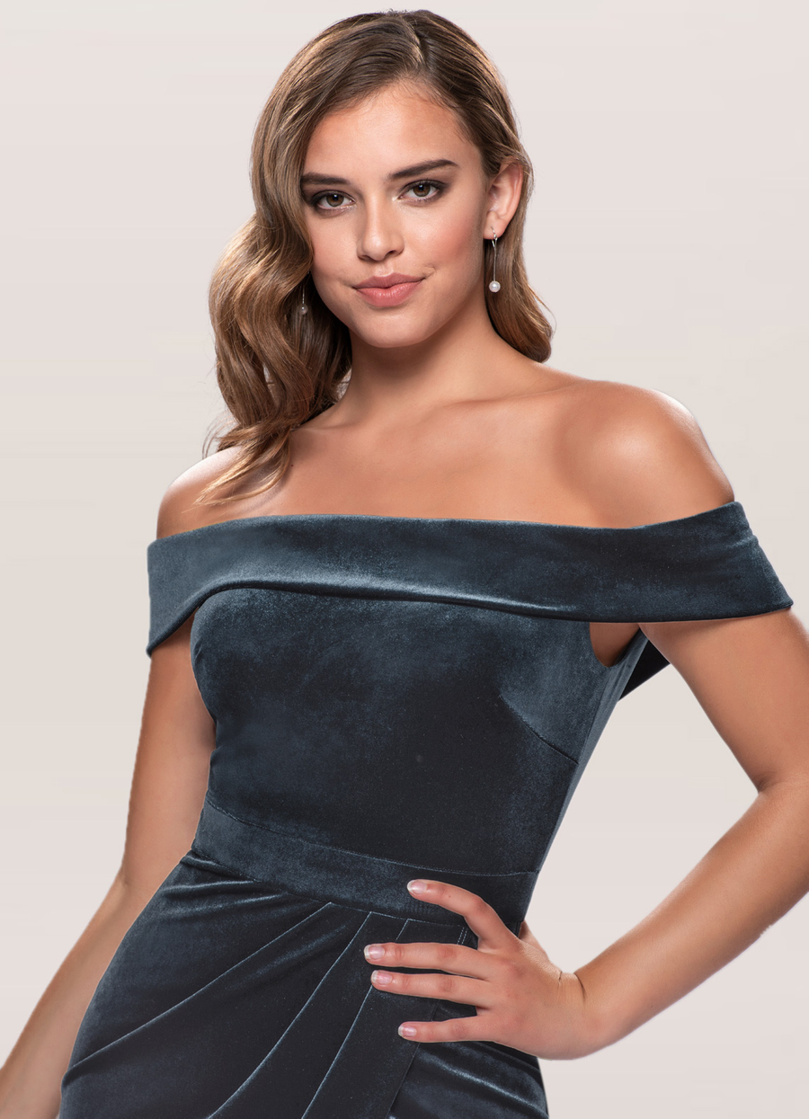 Sweet Desire French Blue Velvet Midi Dress