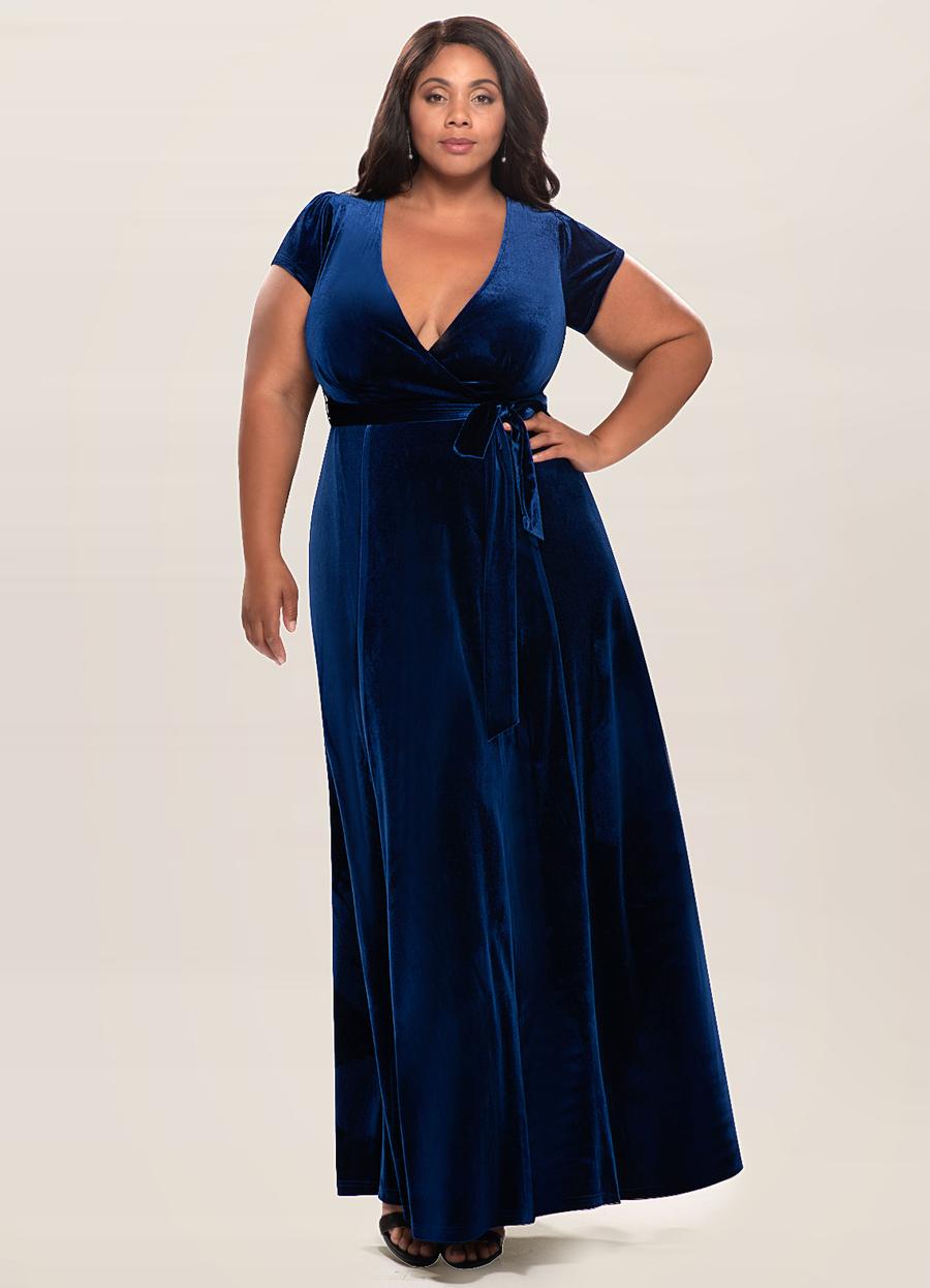 Dreaming Of You Navy Blue Velvet Maxi Dress