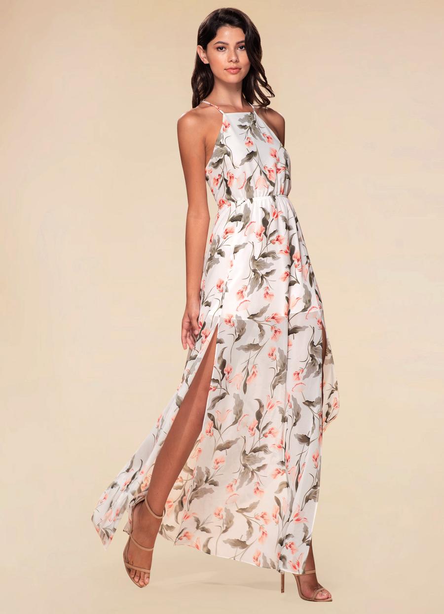 Hani White Floral Print Maxi Dress