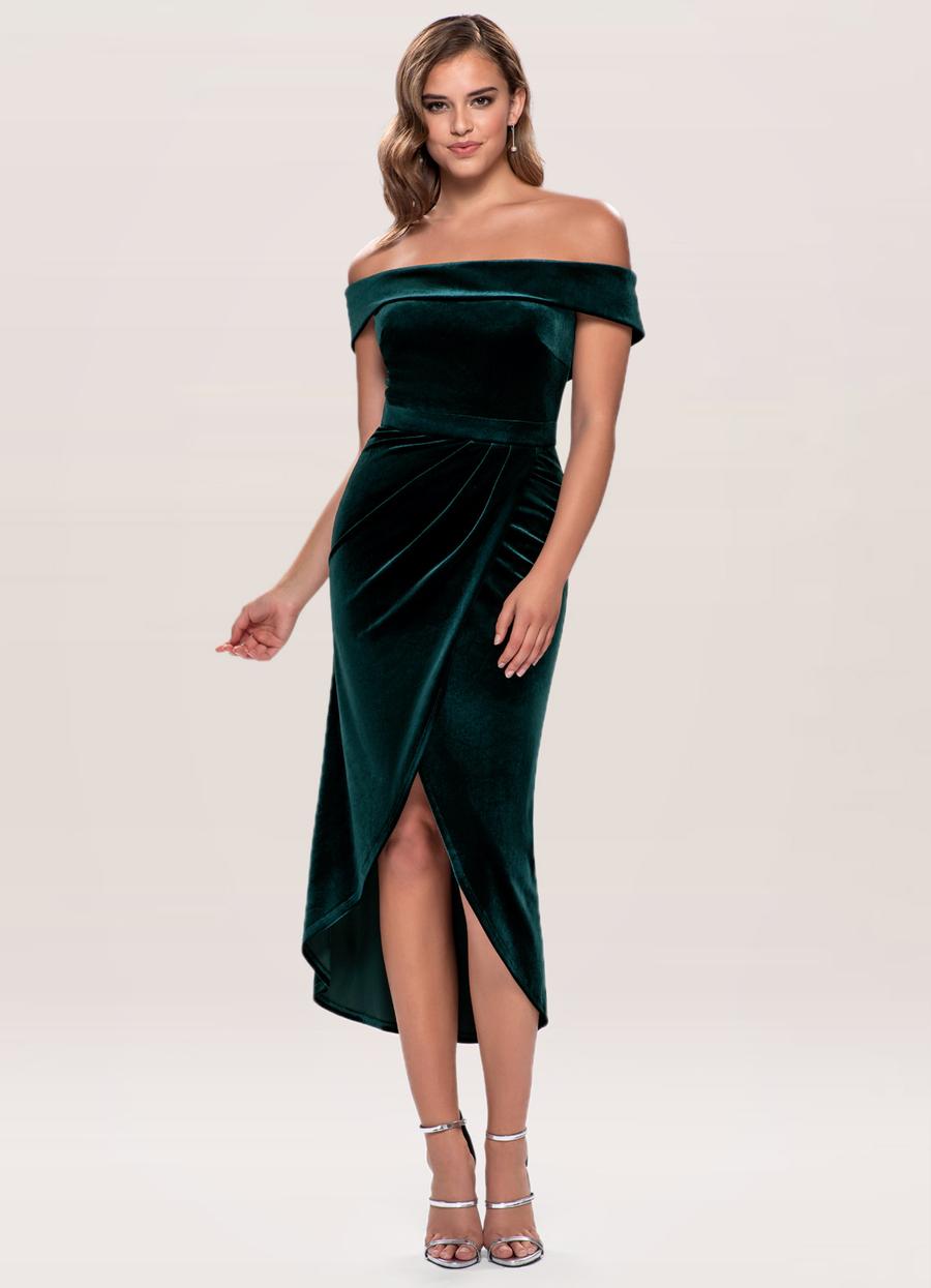 Sweet Desire Dark Green Velvet Midi Dress