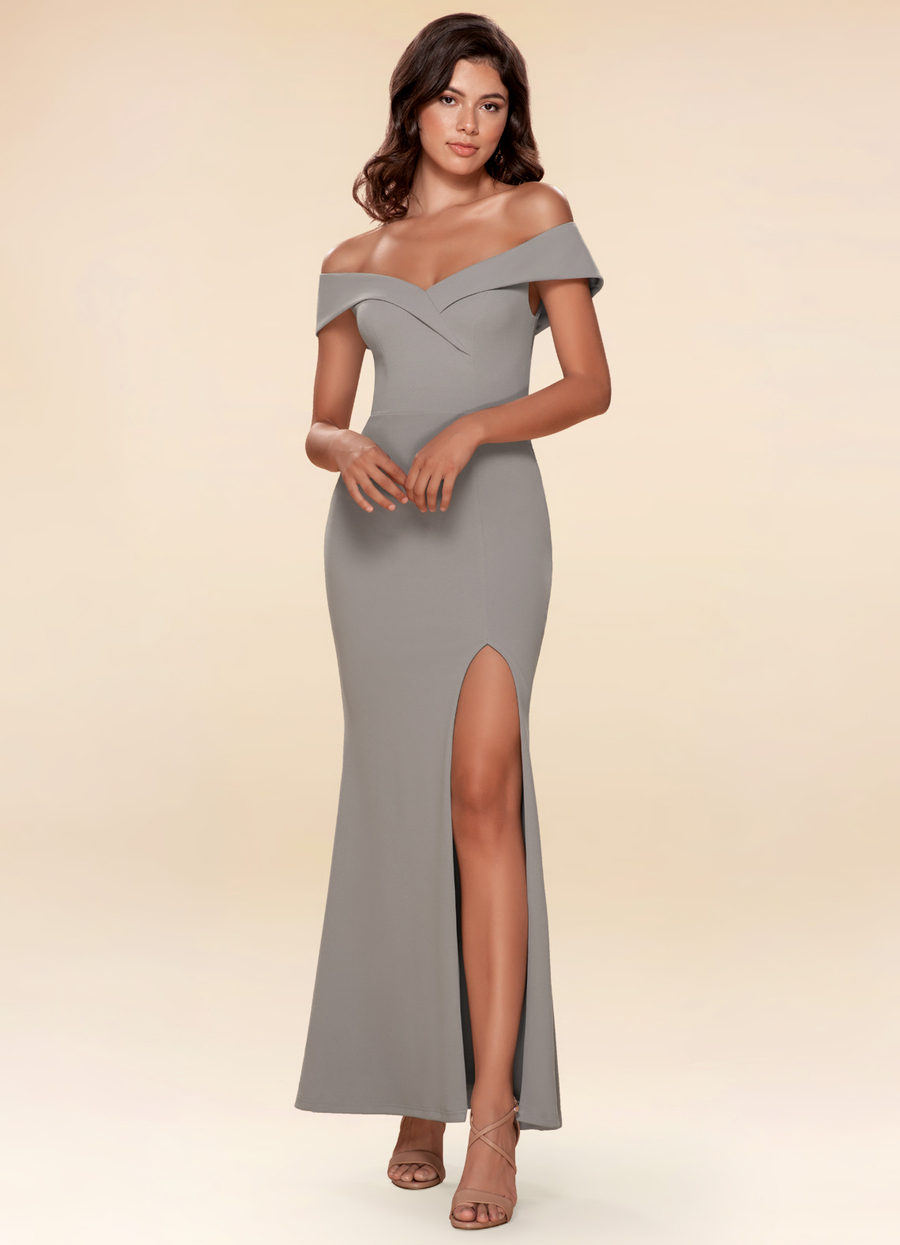 My Valentine Blue Grey Stretch Crepe Maxi Dress