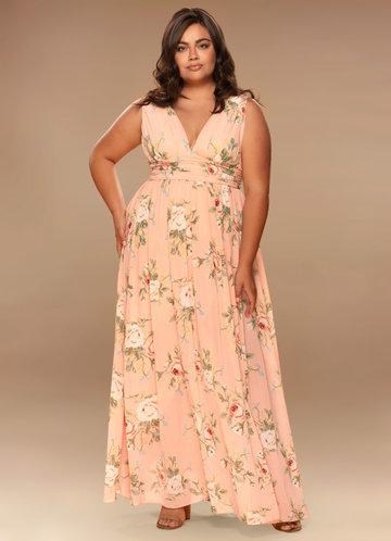 Versailles Blush Floral Print Maxi Dress