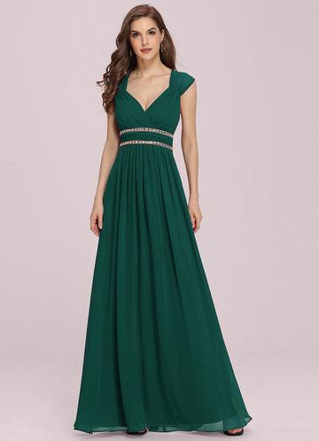 front_EVER-PRETTY Plus Rhinestone Waist Backless Chiffon Dress
