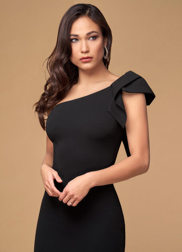 Cheers Black Stretch Crepe Maxi Dress