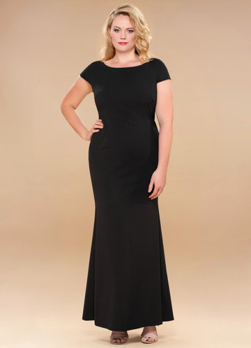back_Blush Mark Plus Size Pure Beauty  Stretch Crepe Maxi Dress
