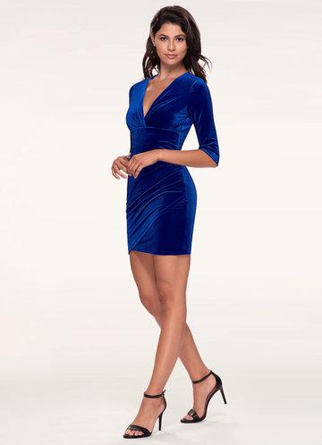 Dance All Night Royal Blue Velvet Bodycon Dress