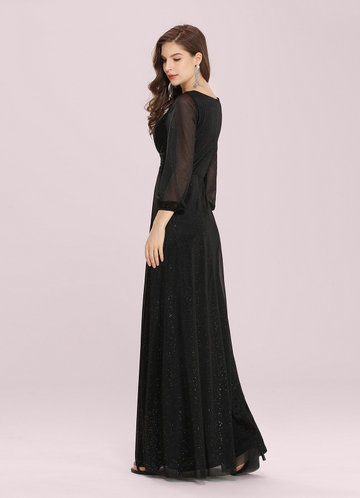 back_EVER-PRETTY Plunging Neck Split Hem Glitter  Dress