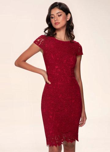 Heavenly Kiss Raspberry Lace Bodycon Dress