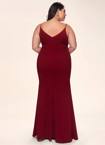 back_Blush Mark Plus Size Day to Night Stretch Crepe Maxi Dress
