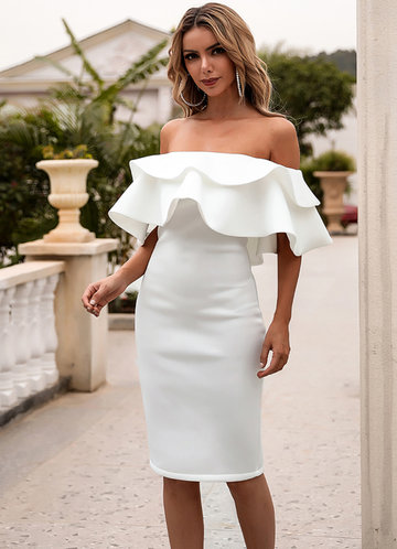 front_Missord Off Shoulder Exaggerated Ruffle Trim Dress