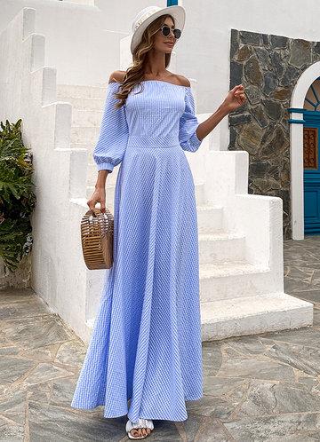 front_Missord Off Shoulder Gingham Print Dress