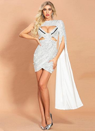front_Missord Cut-out Split Sleeve Wrap Sequin Bodycon Dress