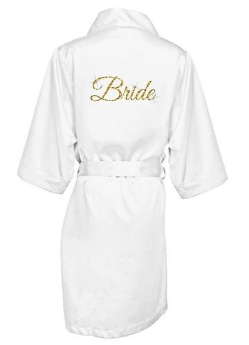 Azazie Glitter Print Bride Satin Robe
