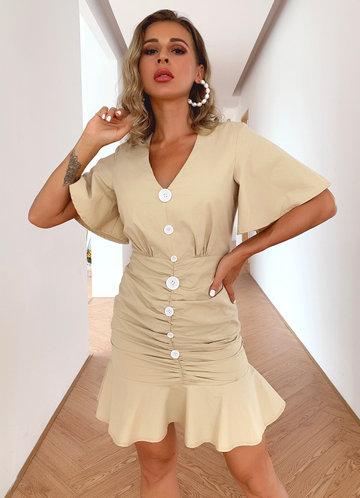 front_Joyfunear Flounce Sleeve Button Front Ruffle Hem Dress