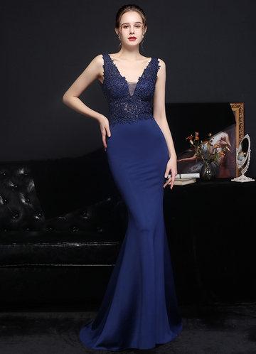 front_Kalinnu Lace Satin Mermaid Maxi Dress
