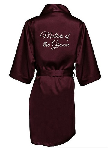 Azazie Glitter Print Mother of the Groom Satin Robe