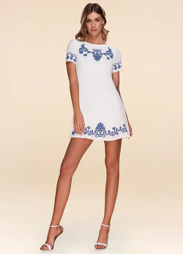Monaco Embroidered Ivory Shift Dress