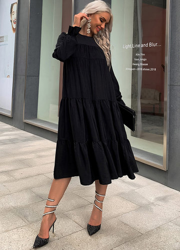 front_Missord Tiered Flounce Smock Midi Dress