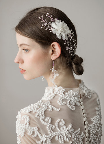 front_Pearl Tulle Headpieces