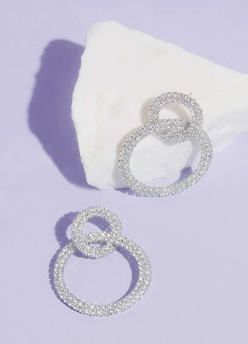 front_Intertwined Rhinestone Double Hoops