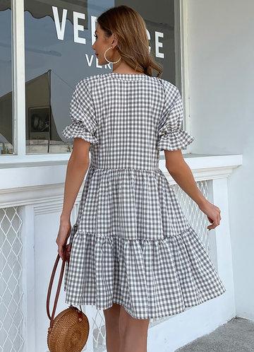 back_Missord Notch Neck Flounce Sleeve Ruffle Hem Gingham Smock Dress