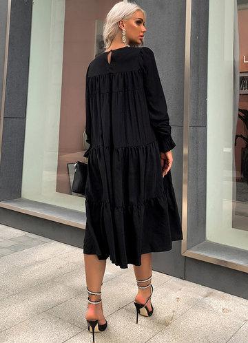 back_Missord Tiered Flounce Smock Midi Dress
