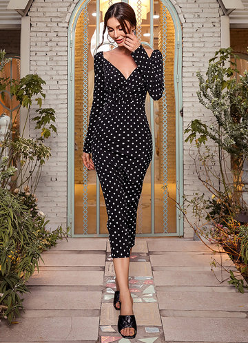front_Missord Sweetheart Neck Polka Dot Bodycon Dress