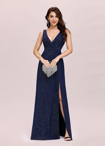 front_EVER-PRETTY Double V Neck Split Thigh Prom Dress