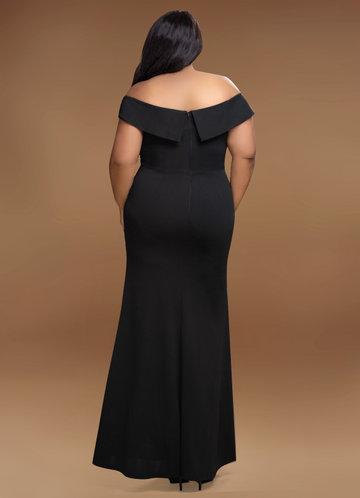 back_Blush Mark Plus Size My Valentine  Stretch Crepe Maxi Dress