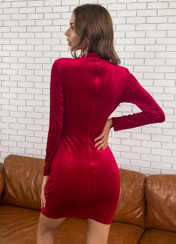 back_Missord Mock-neck Ruched Velvet Dress