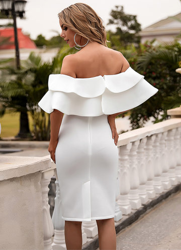 back_Missord Off Shoulder Exaggerated Ruffle Trim Dress