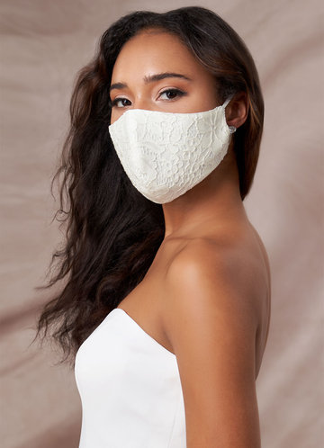 front_Azazie Non-Medical Ivory Lace Reusable Face Mask