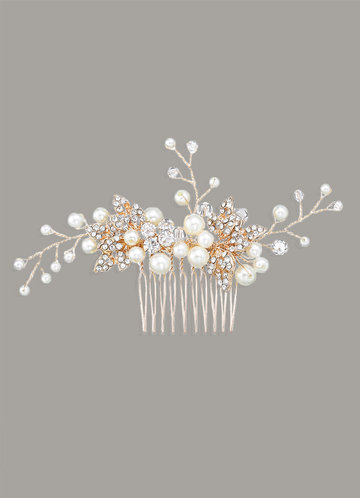 front_Pearly Floral Vine Comb