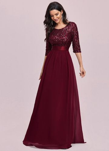 front_AZ Sequin Bodice Chiffon Prom Dress