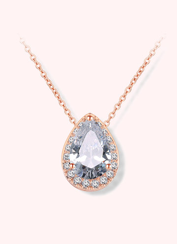 front_Haloed Pear Cubic Zirconia Pendant Necklace