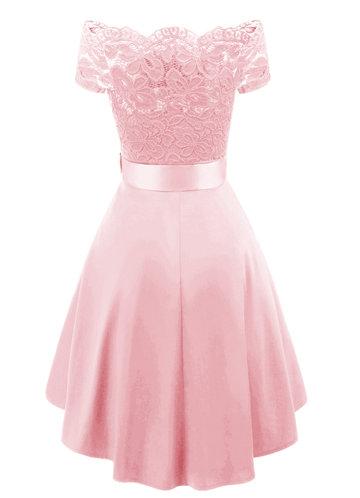 back_Caidienu Vintage Off Shoulder Lace Skater Dress