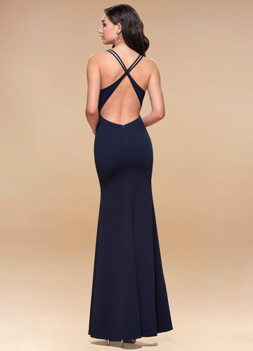 back_Blush Mark Moment To Remember {Color} Stretch Crepe Maxi Dress
