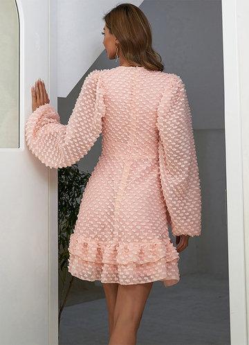 back_Missord Lantern Sleeve Tiered Layer Ruffle Hem Swiss Dot Dress