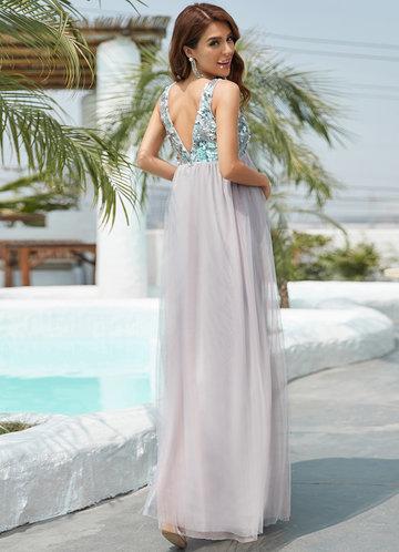 back_Ever Pretty Sequin Empire Waist Maxi Maternity Dress