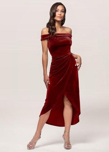 Sweet Desire Burgundy Velvet Midi Dress