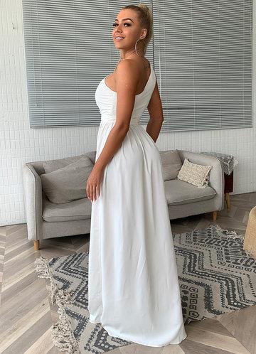 back_Joyfunear Twist Shoulder Belted Split Thigh Dress